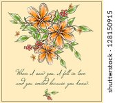 invitation or wedding card with ... | Shutterstock .eps vector #128150915