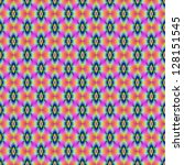Flower in Neon tiled / Digital abstract image with a tiled neon flower design in pink blue and yellow. - stock photo