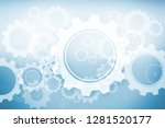 white wheels and cogs on blue... | Shutterstock . vector #1281520177