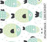 cute handdrawn fish seamless... | Shutterstock .eps vector #1281524347