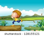 illustration of a scared boy... | Shutterstock .eps vector #128155121