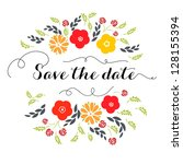 invitation or wedding card with ... | Shutterstock .eps vector #128155394