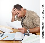 worried exhausted young man... | Shutterstock . vector #128157245
