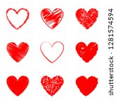 heart hand drawn icons set...
