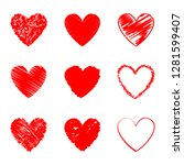 heart hand drawn icons set... | Shutterstock .eps vector #1281599407