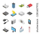 a colored isometric icons set... | Shutterstock .eps vector #1281607951