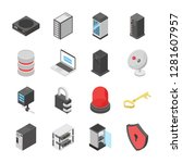 a colored isometric icons set... | Shutterstock .eps vector #1281607957