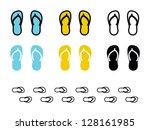 various flip flop in blue ... | Shutterstock .eps vector #128161985