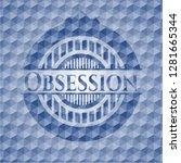 obsession blue polygonal badge. | Shutterstock .eps vector #1281665344