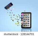 modern communication technology ... | Shutterstock . vector #128166701