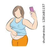 a pregnant or fat woman takes a ... | Shutterstock .eps vector #1281681157