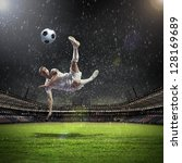 football player in white shirt... | Shutterstock . vector #128169689