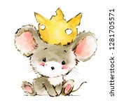 cartoon mouse watercolor... | Shutterstock . vector #1281705571