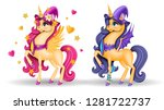 set of 3d pony unicorn with... | Shutterstock .eps vector #1281722737
