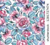 cute watercolor pastel colored... | Shutterstock . vector #1281727474