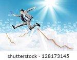 image of a businessman jumping... | Shutterstock . vector #128173145