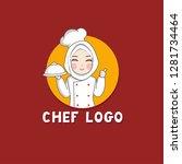 woman muslim chef  chef mascot...   Shutterstock .eps vector #1281734464