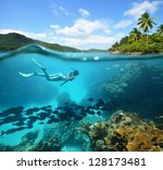 beautiful coral reef with lots... | Shutterstock . vector #128173481