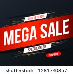 abstract mega sale banner with... | Shutterstock .eps vector #1281740857