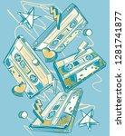 funky drawn music audio...   Shutterstock .eps vector #1281741877