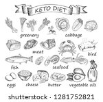 keto diet set of sketches.... | Shutterstock .eps vector #1281752821