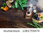 burning charcoal and incense... | Shutterstock . vector #1281755074