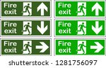 green emergency fire exit door... | Shutterstock .eps vector #1281756097