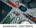 camping equipment top view... | Shutterstock . vector #1281758941
