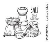 salt in a sack hand drawn set.... | Shutterstock .eps vector #1281774337