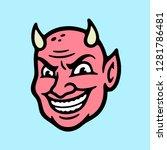 devil head color blue background | Shutterstock .eps vector #1281786481