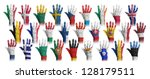 hands with flag painting of the ... | Shutterstock . vector #128179511