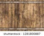 Wooden Barrel With Metal Rusty...
