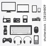 simple web icons set in vector  ... | Shutterstock .eps vector #128184809