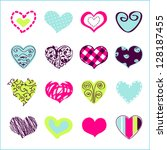 set of hand drawn hearts for you | Shutterstock .eps vector #128187455