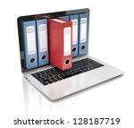 file in database   laptop with... | Shutterstock . vector #128187719