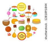 tasty pastry icons set. cartoon ... | Shutterstock .eps vector #1281891844