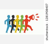 five colored men go in a row... | Shutterstock .eps vector #1281908407