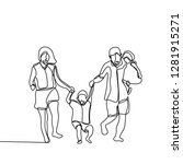 happy family continuous line... | Shutterstock .eps vector #1281915271