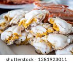 close up of steamed crab on... | Shutterstock . vector #1281923011