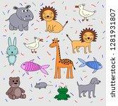children's drawing set of... | Shutterstock .eps vector #1281931807