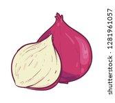 purple onion vector illustration | Shutterstock .eps vector #1281961057