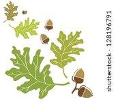 oak leaves and acorns motif.... | Shutterstock .eps vector #128196791