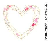 watercolor geometric gold heart ... | Shutterstock . vector #1281969637