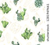 seamless pattern wit watercolor ... | Shutterstock . vector #1281969661