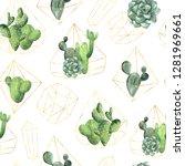 seamless pattern wit watercolor ... | Shutterstock . vector #1281969661