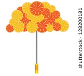 umbrella with oranges and... | Shutterstock .eps vector #128200181