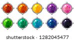 shiny colorful round gem with...