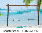 empty swings on the starfish... | Shutterstock . vector #1282061647