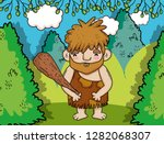 primitive man hunting with... | Shutterstock .eps vector #1282068307