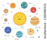 cute planets with funny smiling ... | Shutterstock .eps vector #1282080121